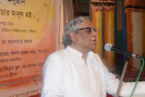 Dr. Anupam Sen is delivering speech in the reception program 2016