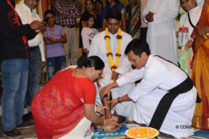 Washing of the feet of Deacon Sadhan Augustine Gregory as a symbol of welcoming into the ordained life
