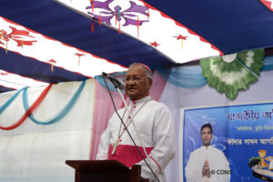 Most Rev. Gervas Rozario of Rajshahi is delivering speech in the reception ceremony