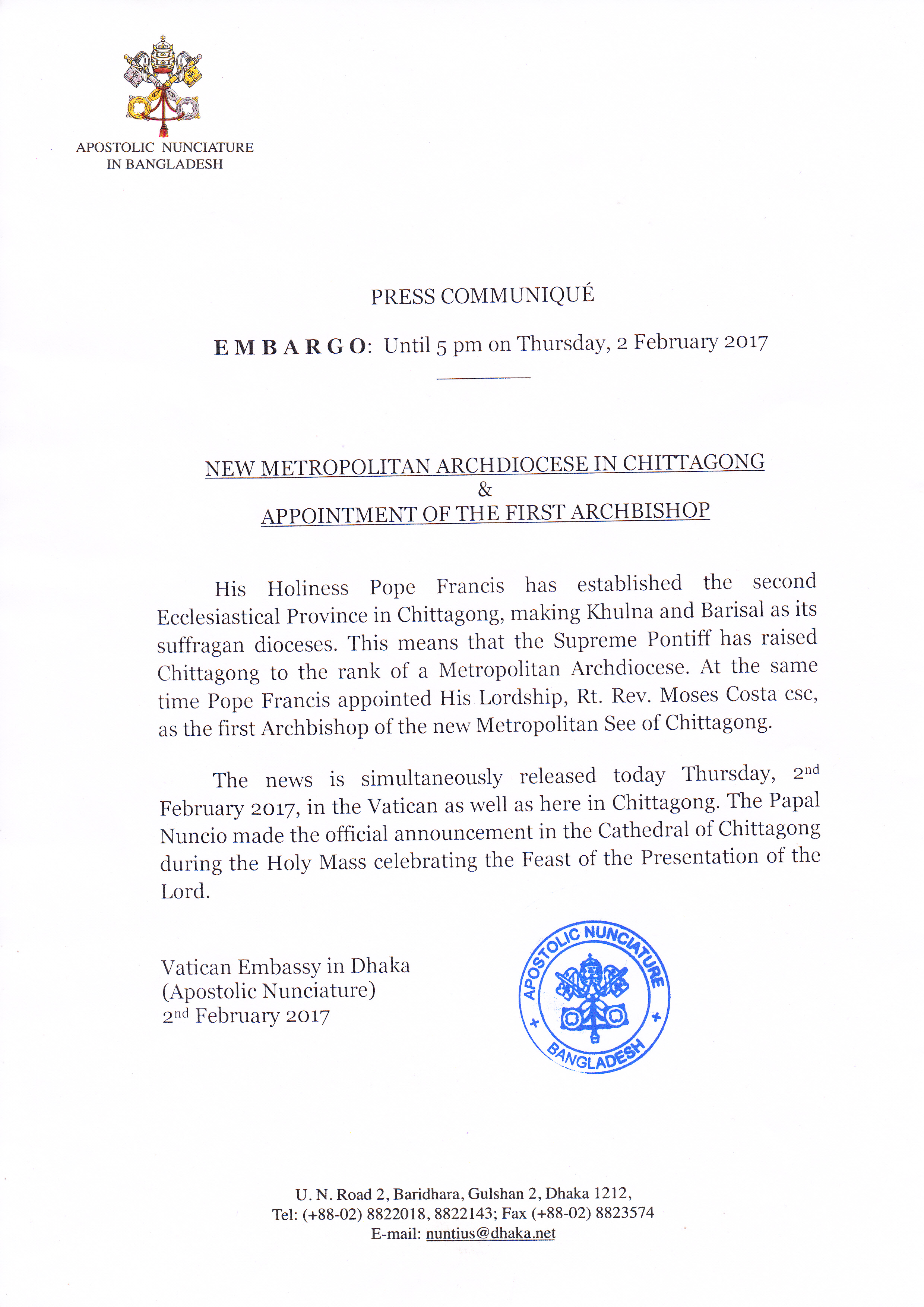 Announcement of establishing Chittagong Archdiocese