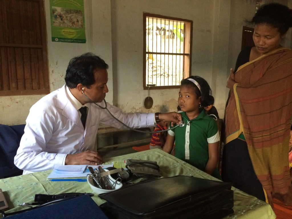 Medical service in Lama, Doctor is doing health check-up in the hostel