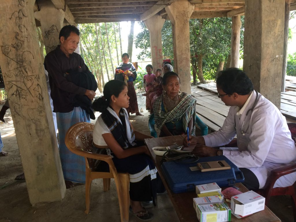 Medical service in Lama, Doctor is examining patients