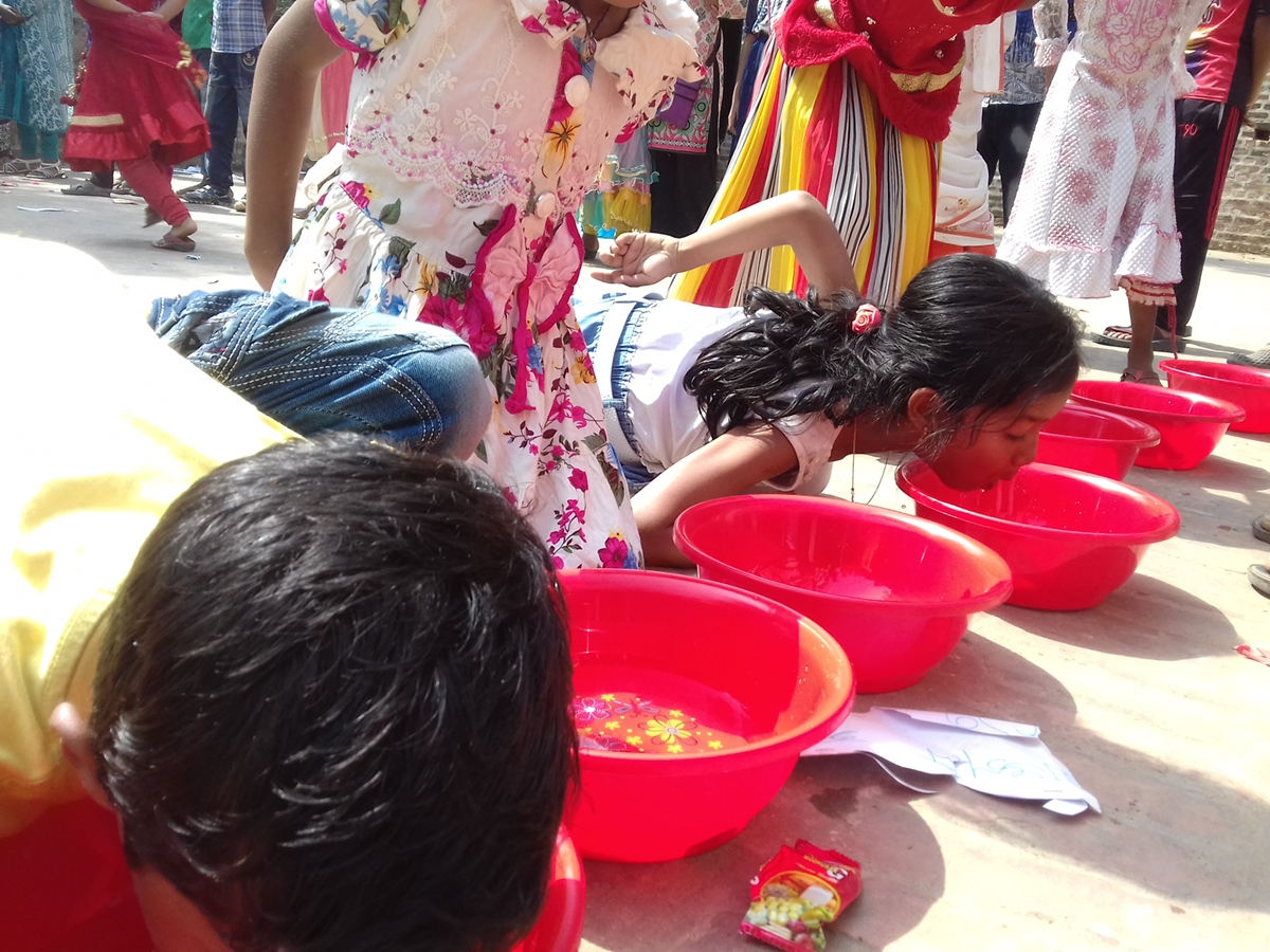 Children are busy in games, Missionary Childhood Gathering, Diang