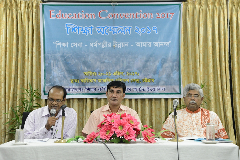 (L-R) Dr. Bro Harold Bijoy Rodrigues, Mr. James Gomes, Mr. Jyoti F. Gomes in the Education Assembly 2017